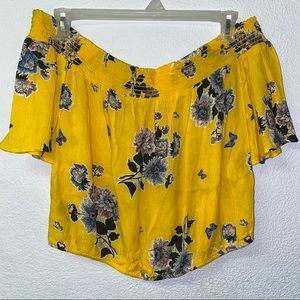 Yellow Floral Off the Shoulder Top